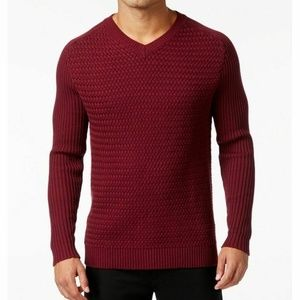 NWT $135 Vince Camuto Mens Woven Knit Sweater sz M